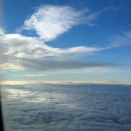 Above the cloud cover.