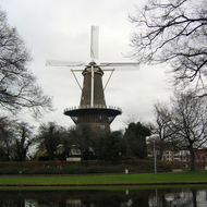 A windmill in downtown Leiden, The Netherlands.