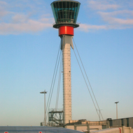 A control tower at Heathrow International Airport, England.
