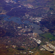 An aerial view of Canberra, the capitol of Australia.