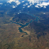 A view of Lake Eildon from a commercial jet.