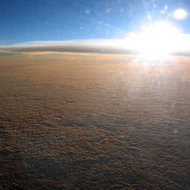 Sunset at 35,000 feet, somewhere over the Pacific Ocean between Australia and the United States.