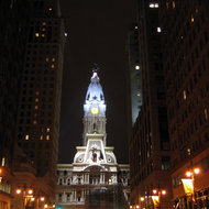 The city hall of Philadephia, Pennsylvania at night.