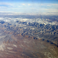 An aerial view of the Southwest in winter.