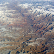 An aerial view of the Green River in Desolation and Gray Canyons.