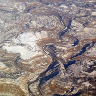 An aerial view of De Beque Canyon on the Colorado River.