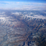 An aerial view of a Southwest river canyon in Colorado.