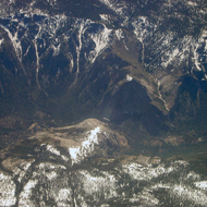 An aerial view of Yosemite Valley, including the top of El Capitan and Bridal Veil Falls.
