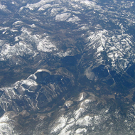 An aerial view of Yosemite Valley, including Half Dome.