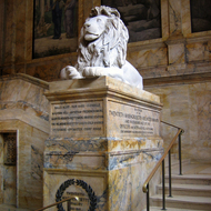 A lion sculpture inside the Boston Public Library.