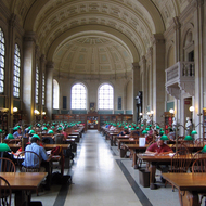 A reading room in the Boston Public Library.