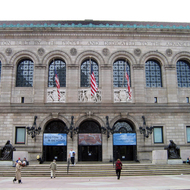 An exterior view of the Boston Public Library.