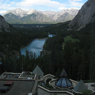 A view from a room on the 5th floor of the Banff Springs Hotel, looking out on the Bow River.