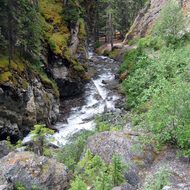 Hiking up Sundance Canyon in Banff National Park.