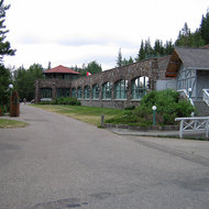 The building that houses the hot springs of The Cave and Basin National Historic Site of Canada in Banff National Park.