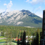 A view of the mountains surrounding The Banff Springs Hotel in Banff National Park.