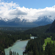A view of the Bow River Valley and newly-snow-capped mountains from The Banff Springs Hotel in Banff National Park.