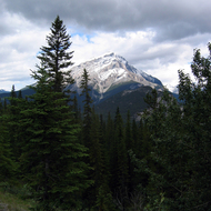 A view of Mount Norquay near the town of Banff in Banff National Park.