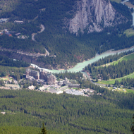 A view of the Bow River and the Banff Springs Hotel from Sulphur Mountain in Banff National Park.