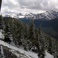 A view of a mountain range from Sulphur Mountain in Banff National Park.
