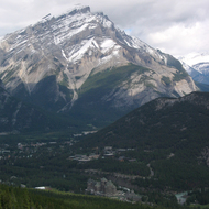 A view of Mount Norquay, the Banff Springs Hotel, and the town of Banff from Sulphur Mountain Gondola in Banff National Park.
