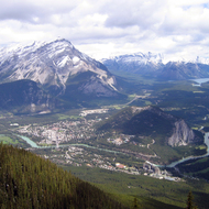 A view of Mount Norquay, the town of Banff, the Bow River and Bow Lake from Sulphur Mountain in Banff National Park.