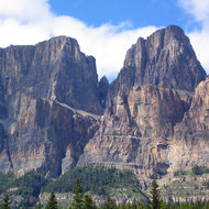 A view of Castle Mountain in Banff National Park.
