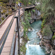 The falls trail in Johnston Canyon, Banff National Park.