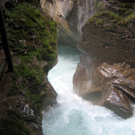 Looking over the top of the Lower Falls of Johnston Creek in Johnston Canyon, Banff National Park.