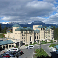 The secondary building of the Fairmont Chateau Lake Louise in Banff National Park.