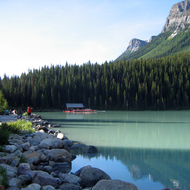Lake Louise in front of the Chateau Lake Louise in Banff National Park.