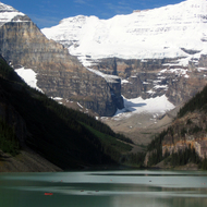 Canoeists on Lake Louise in Banff National Park.