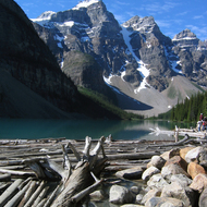 Moraine Lake in Banff National Park from the outflow.