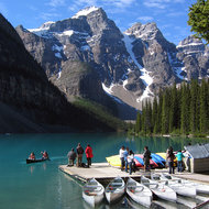 Canoeing on Moraine Lake in Banff National Park.