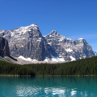 Moraine Lake in Banff National Park from a canoe.