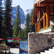The Moraine Lake Lodge at Moraine Lake in Banff National Park.