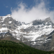 Mountains near Moraine Lake in Banff National Park.