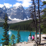 Moraine Lake in Banff National Park from the boulder field that created it.