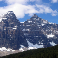 Some of the mountains surrounding Moraine Lake in Banff National Park.