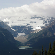 Lake Louise from the Lake Louise Mountain Resort across the valley.