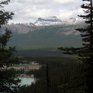 Chateau Lake Louise and the mountains across the valley from Fairview Lookout.
