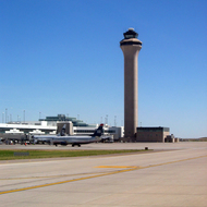 The Chicago O'Hare International Airport control tower.