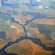An aerial view of Honker Cut between White Slough and Disappointment Slough in the California Delta region.