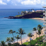 A view along Kaanapali beach from the Westin Maui to the Sheraton Maui.
