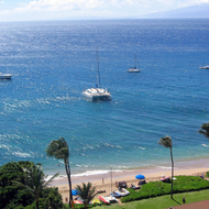 Boats along the Kaanapali Beach on Maui, from the Westin Maui Hotel.