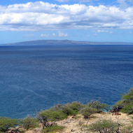A view of Molokai from Maui.