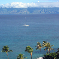A view from Kaanapali beach across the ocean to Molokai.
