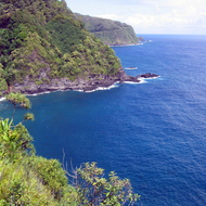 The coast along the Hana Highway on Maui.