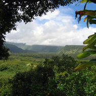 Looking into the interior from the Hana Highway above the Keanae Peninsula on Maui.