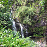 A waterfall along the Hana Highway on Maui.